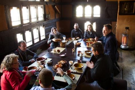 Bhutanese lunch in an old farmhouse.
